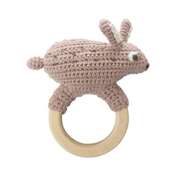Crochet rattle / Snow rabbit on ring