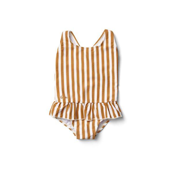 Amara Swimsuit / Stripe Mustard - Creme