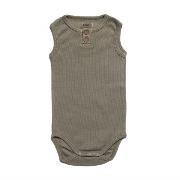 Vintage Henley Tank Bodysuit / Moss