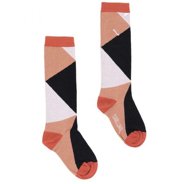 Knee Socks Color Blocks / Black - Brown