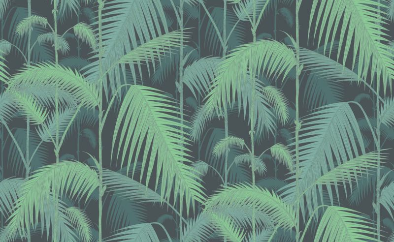 Behangpapier / Palm Jungle (Green on Black)