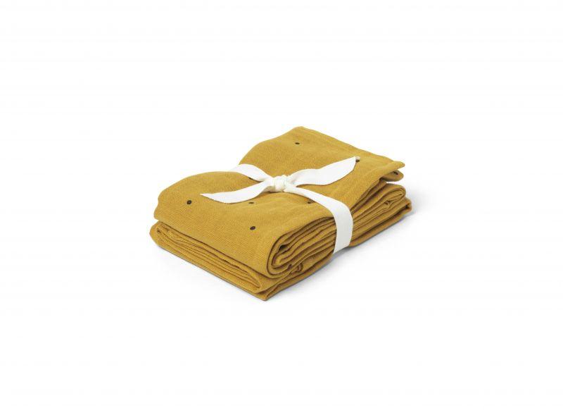 Hannah Muslin Cloth Dot 2 stuks / Mustard