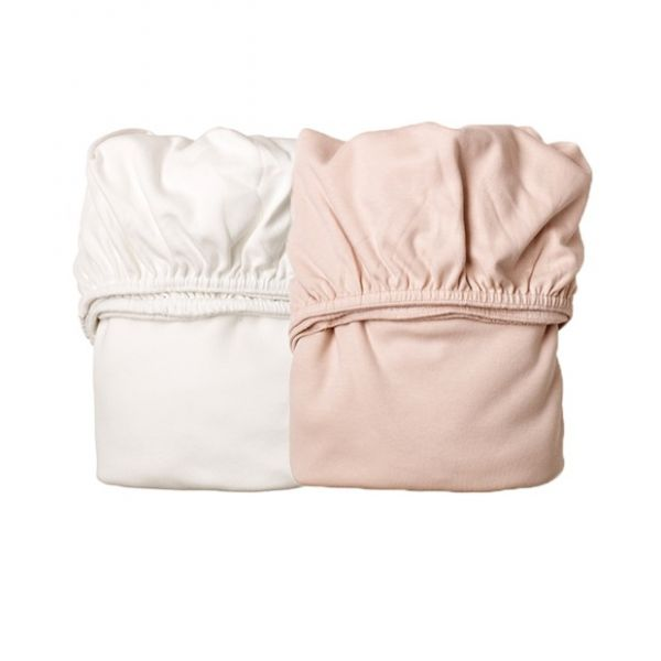Sheet for cradle (2 pcs) Soft Pink / White