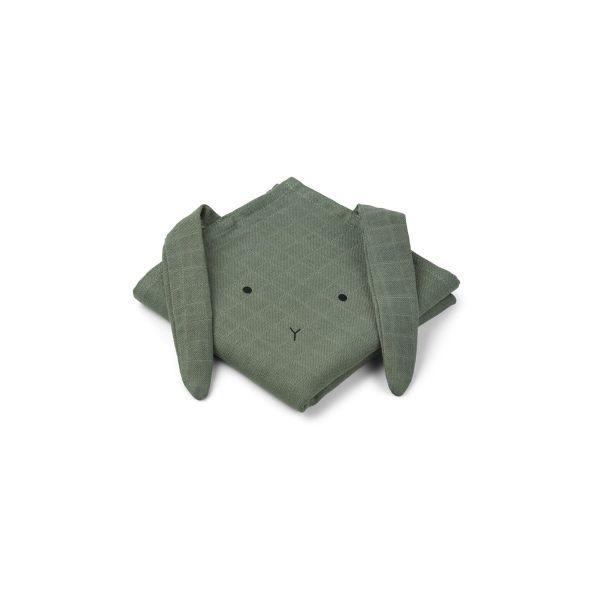 Hannah Muslin Cloth 2 Pack / Rabbit Faune Green