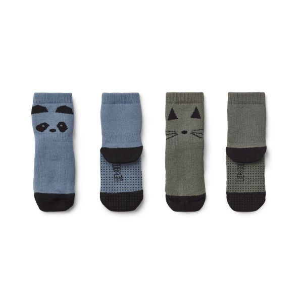 Nellie Anti slip socks 2-pack / Panda Blue Wave