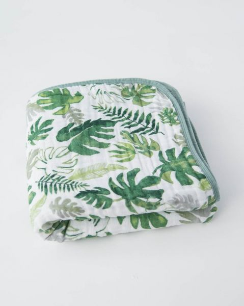 Cotton Muslin Quilt / Tropical Leaf