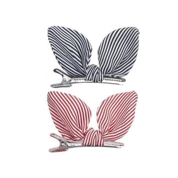 Stripe bunny ears clips