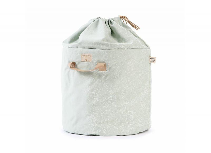 Bamboo Toy Bag Small / White Bubble - Aqua