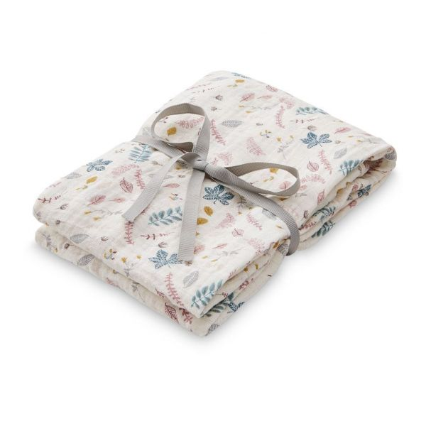 Swaddle Muslin / Pressed Leaves Rose