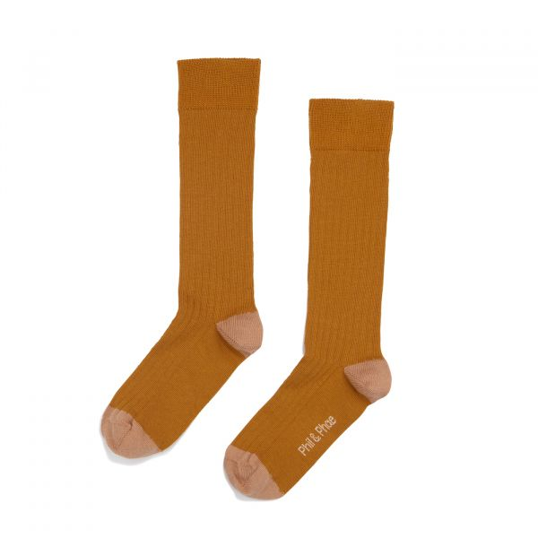 Ribbed Knee Socks / Gold