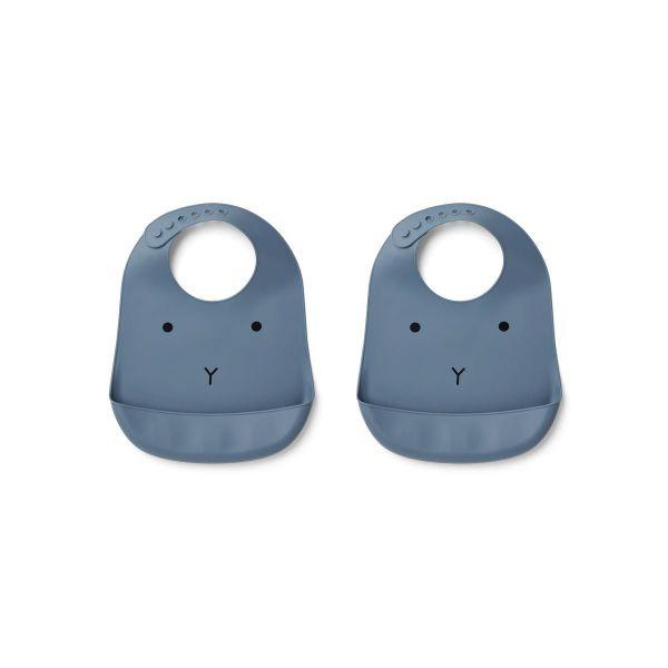 Tilda Silicone Bib 2-pack / Rabbit Blue Wave