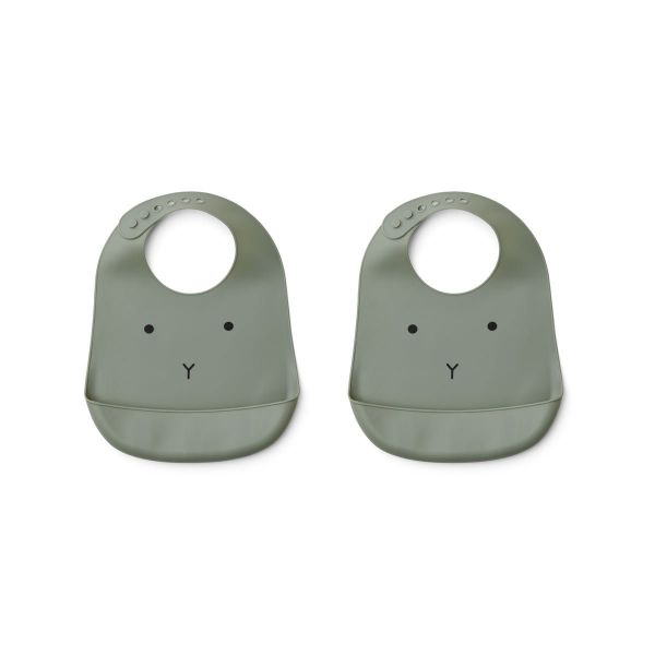 Tilda Silicone Bib 2-pack / Rabbit Faune Green