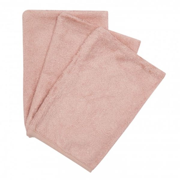 Set van 3 washandjes / Misty Rose