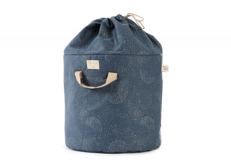 Bamboo Toy Bag Small / Gold Bubble - Night Blue