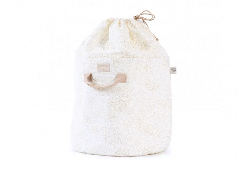 Bamboo Toy Bag Large / Gold Bubble - White