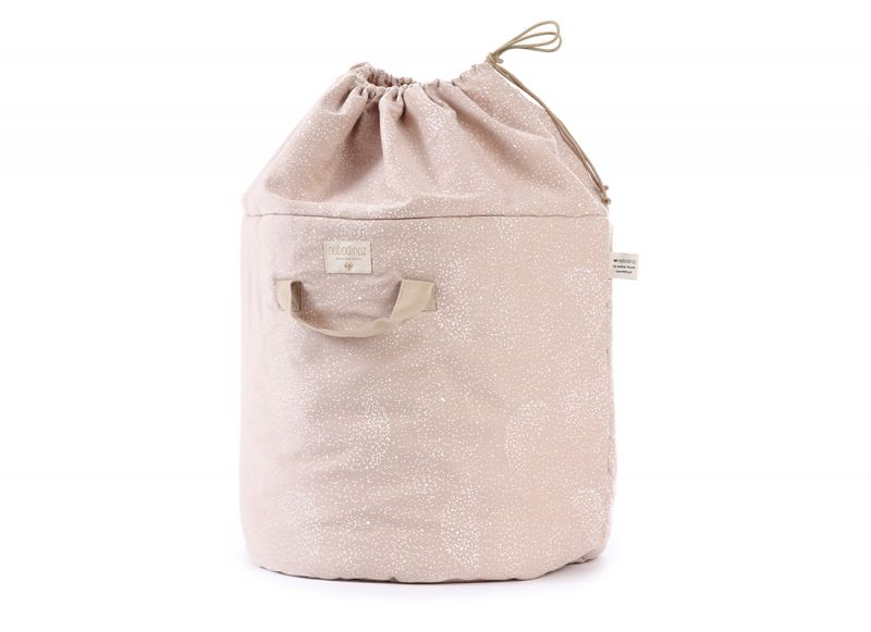 Bamboo Toy Bag Small / White Bubble - Misty Pink