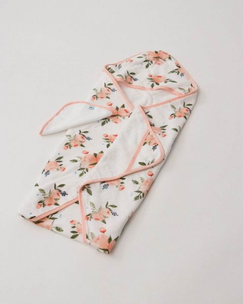 Cotton Hooded Towel Set / Watercolor Roses