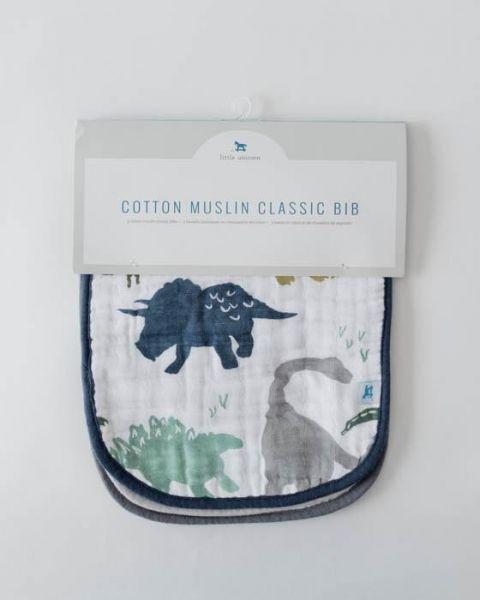 Cotton Muslin Classic Bib 3-Pack / Dino