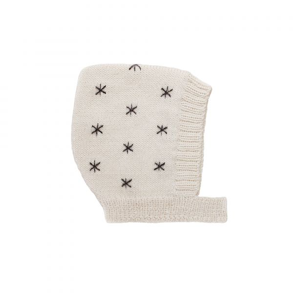 Knitted Bonnet 0-6 mnd / Stars Ecru