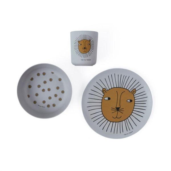 Lion Bamboo Tableware Set / Grey