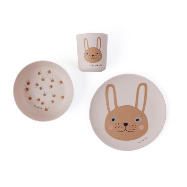 Rabbit Bamboo Tableware Set / Rose