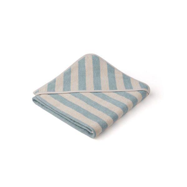Louie Hooded Towel / Y/D Stripe Sea Blue/Sandy