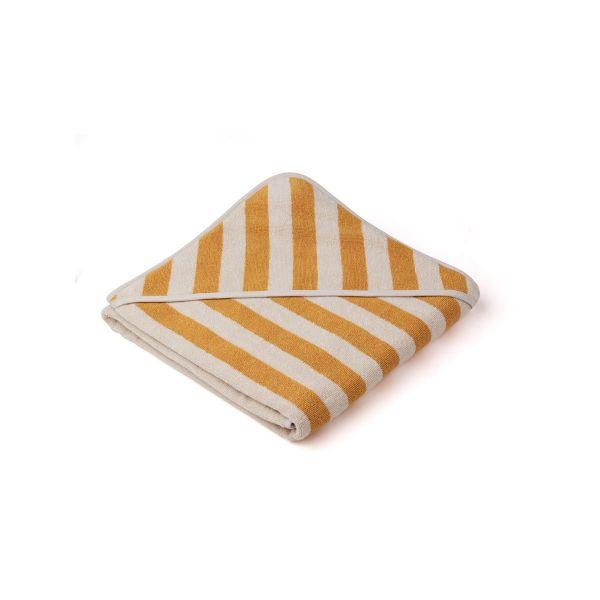 Louie Hooded Towel / Y/D Stripe Yellow Mellow/Sandy