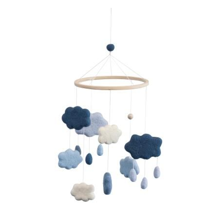 Felted baby mobile clouds / royal blue
