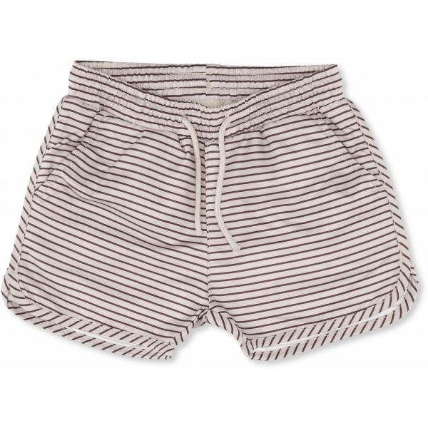 Soleil Boys Swim Shorts / Striped Bordeaux