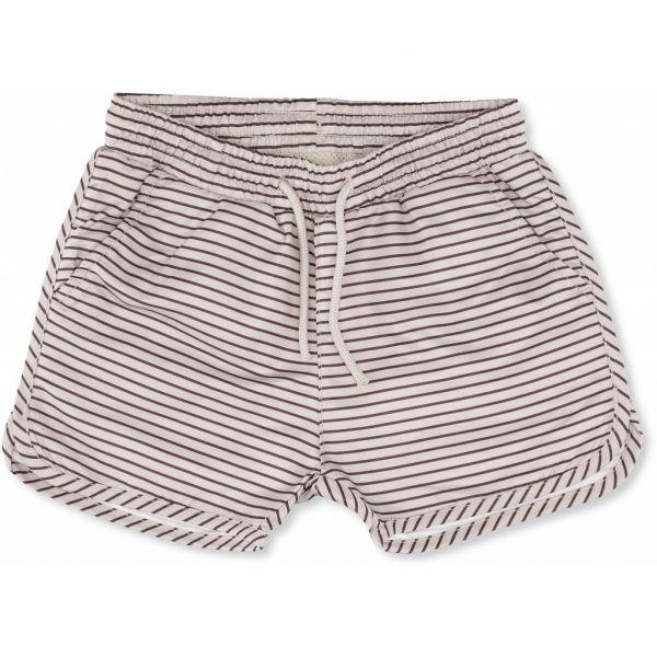 Soleil Boys Swim Shorts / Striped Bordeaux