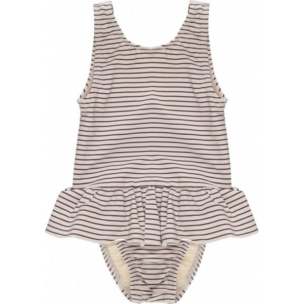 Soleil Girls Swimsuit / Striped Bordeaux