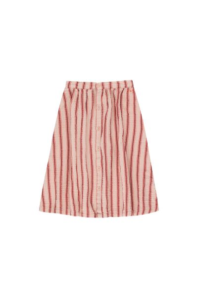 Retro Stripes Midi Skirt / Light Nude - Dark Brown